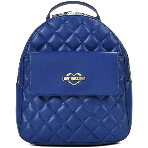 Love Moschino Rucksack ($280) ❤ liked on Polyvore featuring bags, backpacks, blue, quilted bag, zip backpack, zipper bag, love moschino bags and rucksack bag
