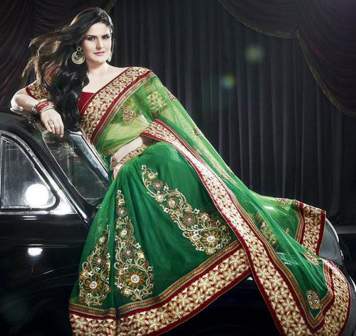 Green Net Designer Lace work Saree