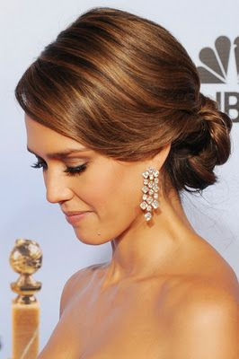 Love the up do ~ pulled back off the neck, but still soft and feminine.  Like the color, too!