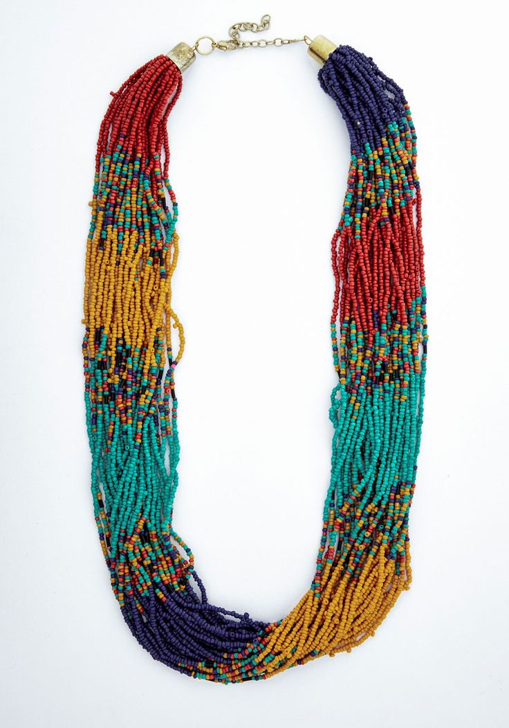 Couldn't Bead More Colorful Necklace - Multi, Beads, Boho, Safari, Statement
