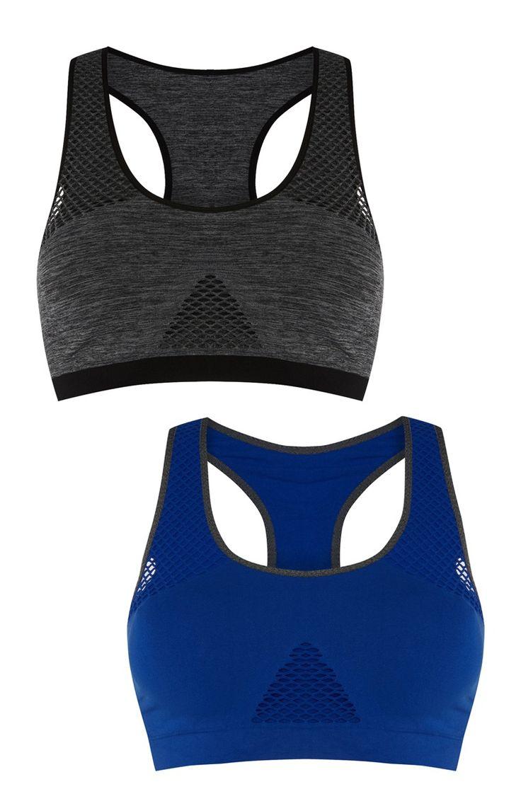 Naadloze sportbeha zwart en blauw, 2 st.