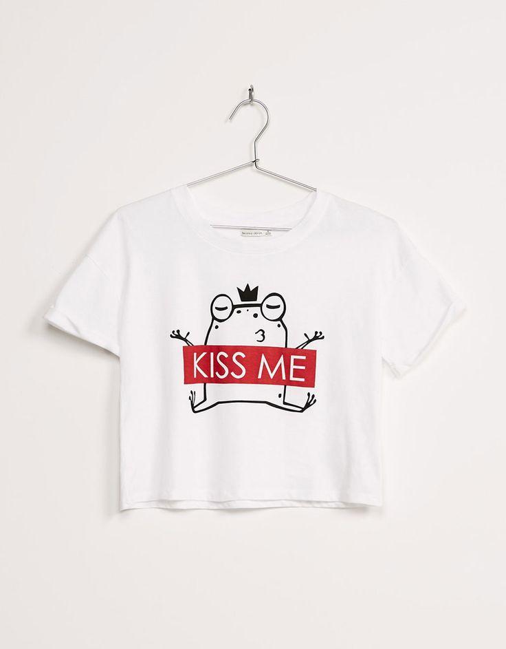 Camiseta BSK manga sisa 'Kiss me' - Camisetas - Bershka España