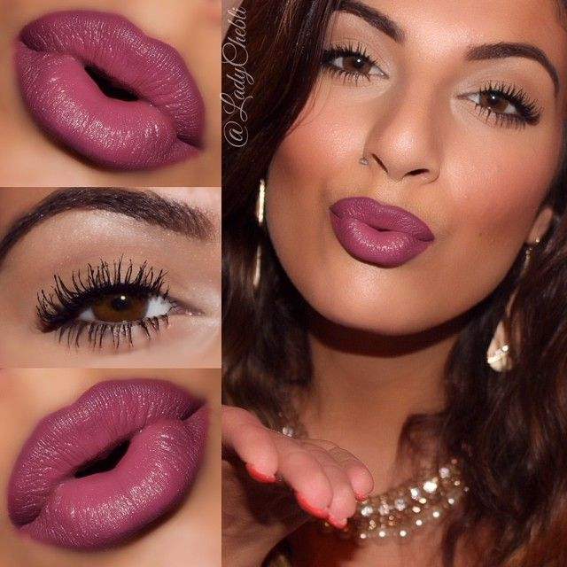 """Who doesn't love bold lashes and a pop of lips? NYX matte lip cream in """"Prague"""" lined with Milani liner in """"plum."""" #makeup"""