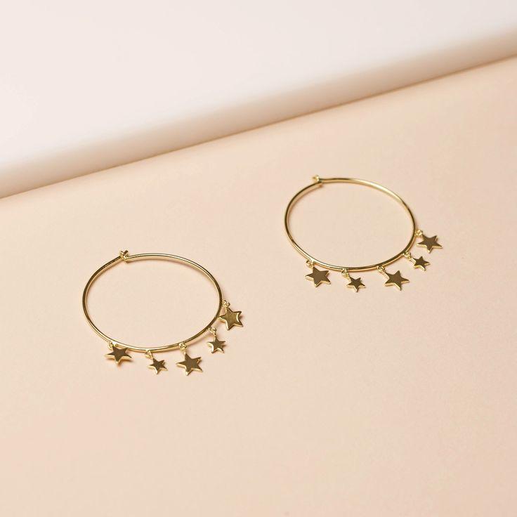 Gold Plated Star Charm Hoop Earrings
