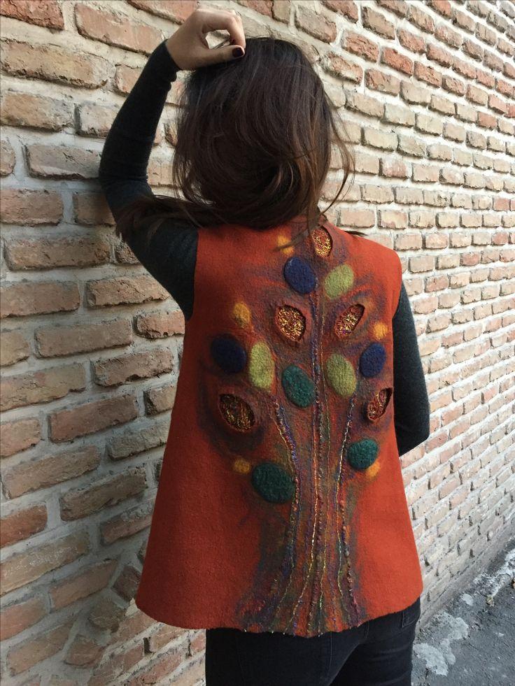"Hand felted vest ""Fire Leaves"" #felting #feltedvest #vest #felt #felted #жилет #валяныйжилет"