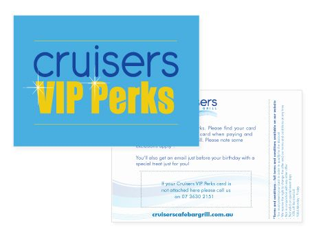 Postcard to go out with VIP Card for Cruisers Cafe Bar and Grill