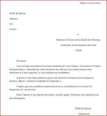 MAACHE: Exemple d'une Lettre de Demande d'Inscription en ...