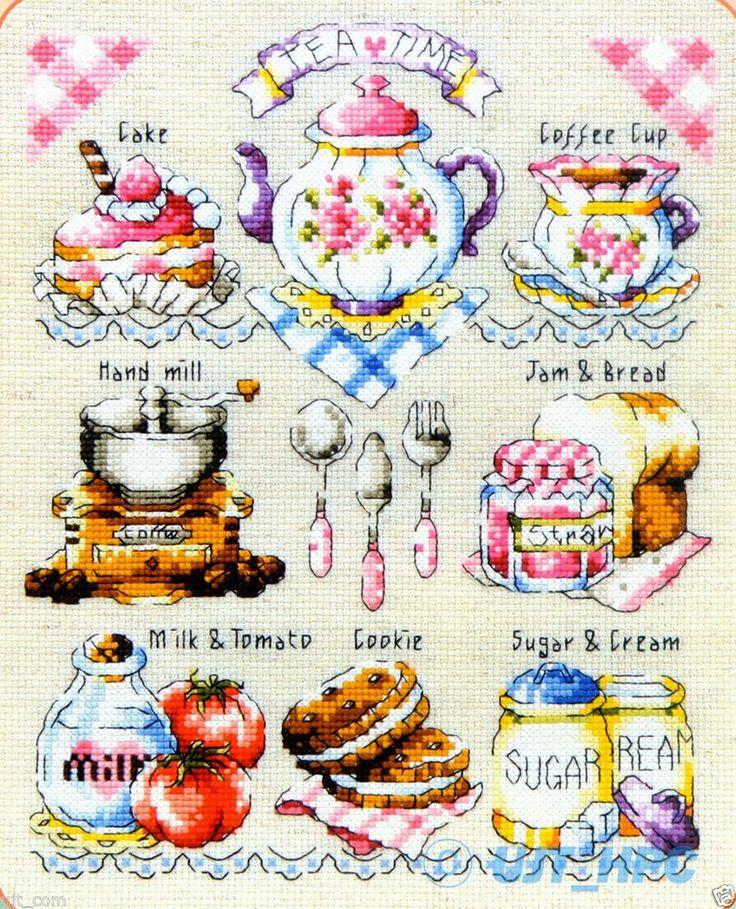Mini Tea Time Counted Cross Sch Chart Pattern Leaflet Soda So 3121