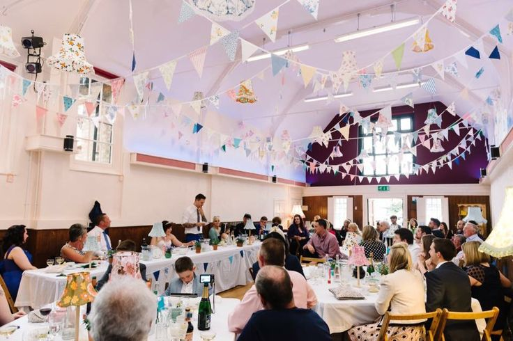 Afternoon tea wedding hall bunting lamp shades cake