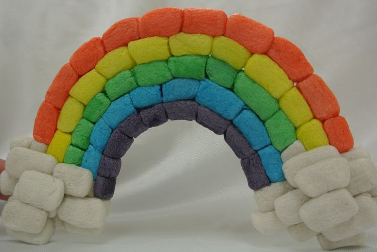 Rainbow! Made with Magic Nuudles. Eco Craft.  Magic Nuudles are made with cornstarch so they are safe for you and the environment!