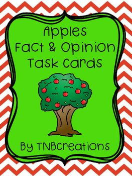 Apples Fact and Opinion Task Cards are perfect for an apple unit, fall, and practicing recognizing facts and opinions!
