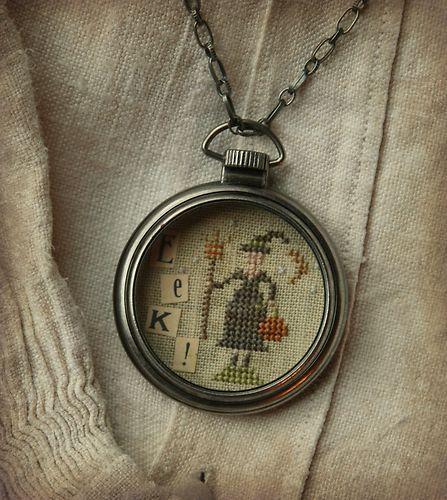 Eek! Pocket Watch Necklace by Brenda Gervais