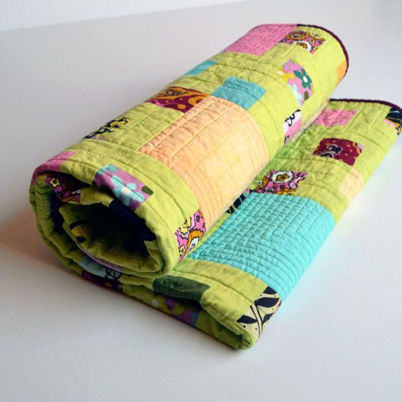 Baby Quilt Modern Quilt Lime Green Green bedding by TwiggyandOpal #twiggy and opal, # chaos curators,