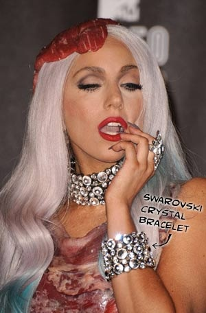 lady gaga wearing a swarovski crystal bracelet and