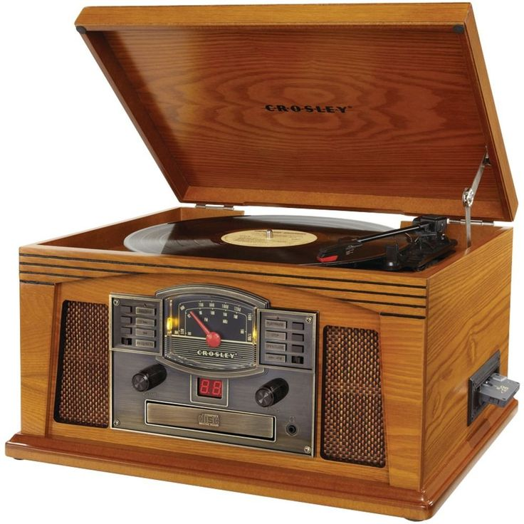 Crosley Record Player, Vintage Look Wood Turntable, AM FM Radio, CD Tape MP3 NEW #CROSLEYRADIO