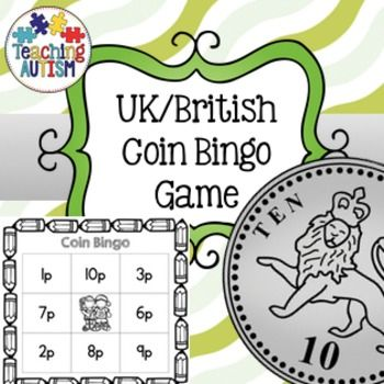 UK Coins, British Coins, Bingo, GameThis activity includes bingo cards to help encourage students to keep learning about the different coins and their values. The first page of this PDF is the instructions so you are able to get the most out of the activity when using in your classroom.The whole thing comes as black and white for ink friendly printing.There are 3 different sets of bingo card, each set comes in word or picture option.