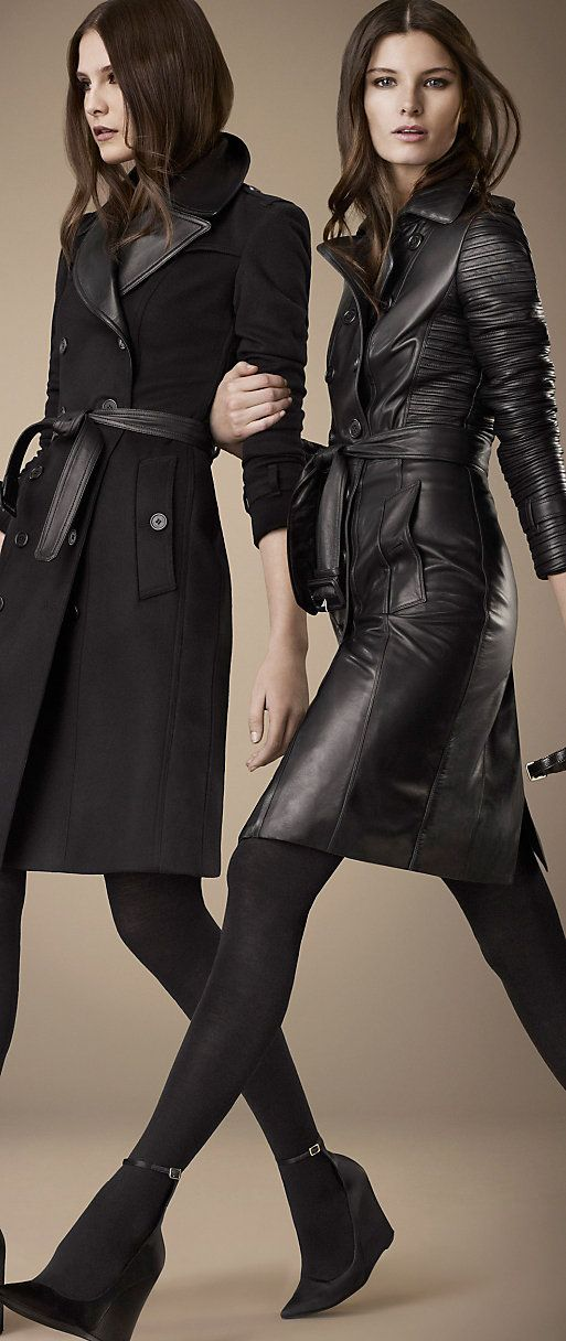 -BURBERRY LONDON. black leather trench.
