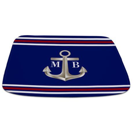 Navy Red Anchor Monogram Bathmat on CafePress.com
