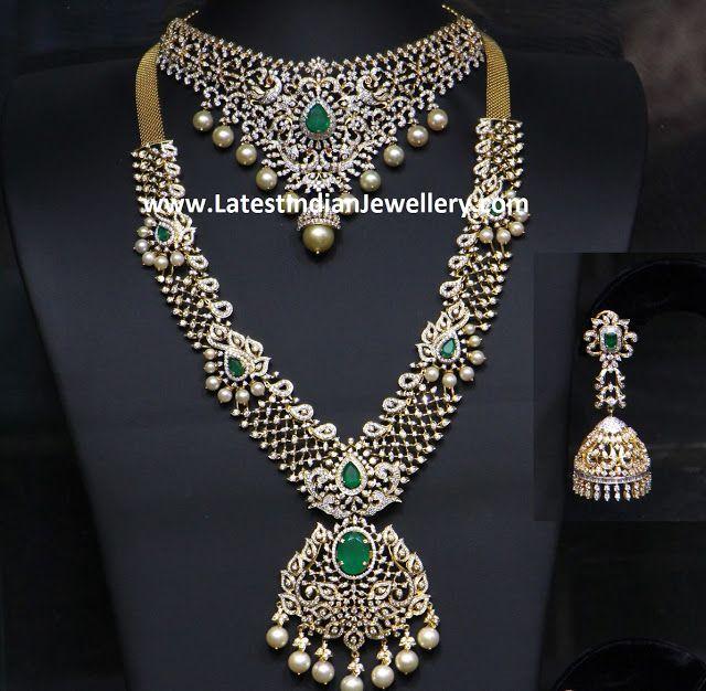 Hiya Bridal Diamond Emerald Set