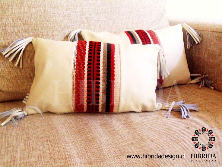 Cojines decorativos de cuero y telar mapuche dise o gloria for Disenos de cojines