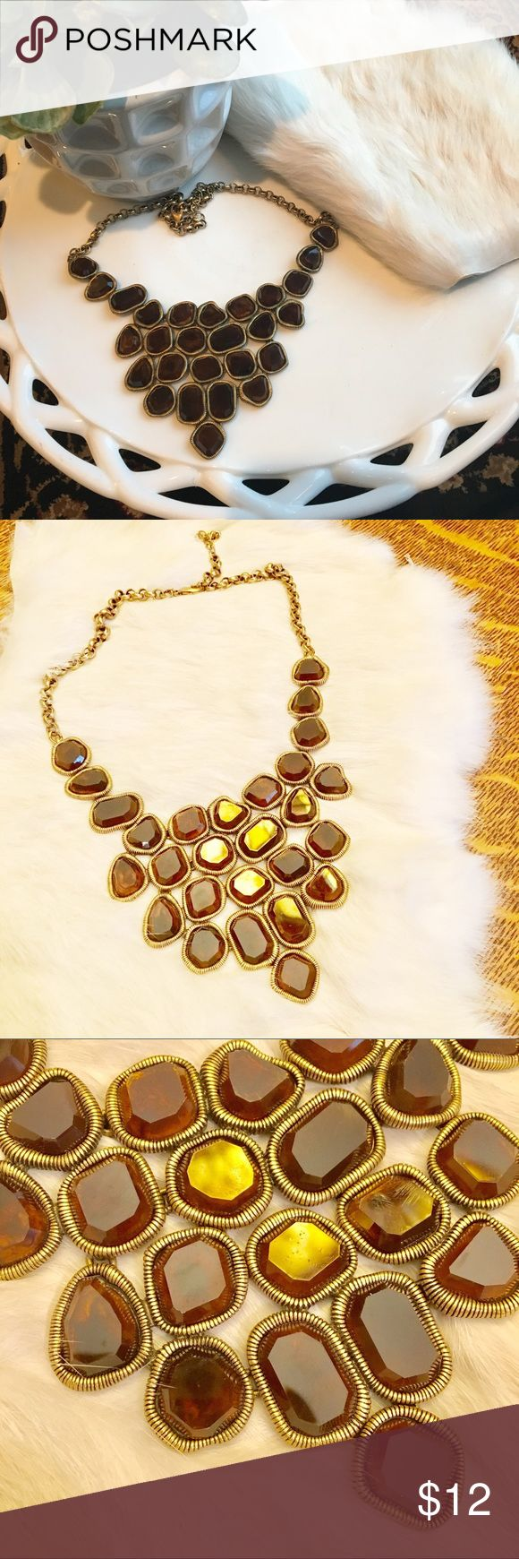 "Women's 22"" Brown and Gold Statement Necklace Women's 22"" Brown and Gold Statement Necklace. Excellent condition. Jewelry Necklaces"