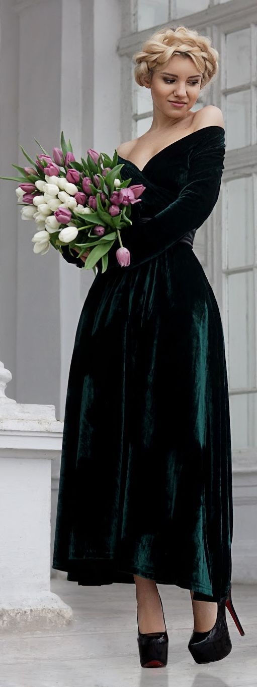 Green Velvet Off The Shoulder Maxi Gown jαɢlαdy -longer, with slit, absolute NO to those shoes.