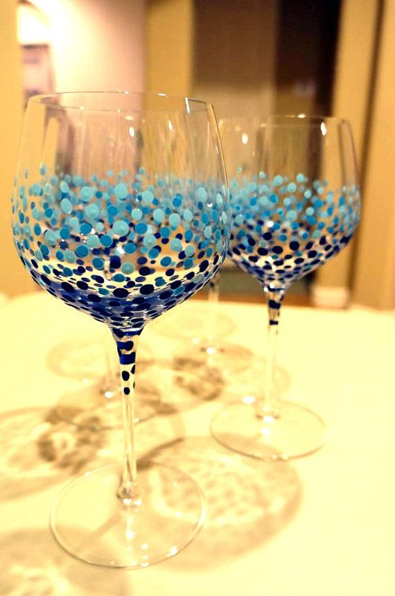 BUBBLES - Hand Painted Wine Glasses  Set of 4   by LittleBitsofLucy, $45.00