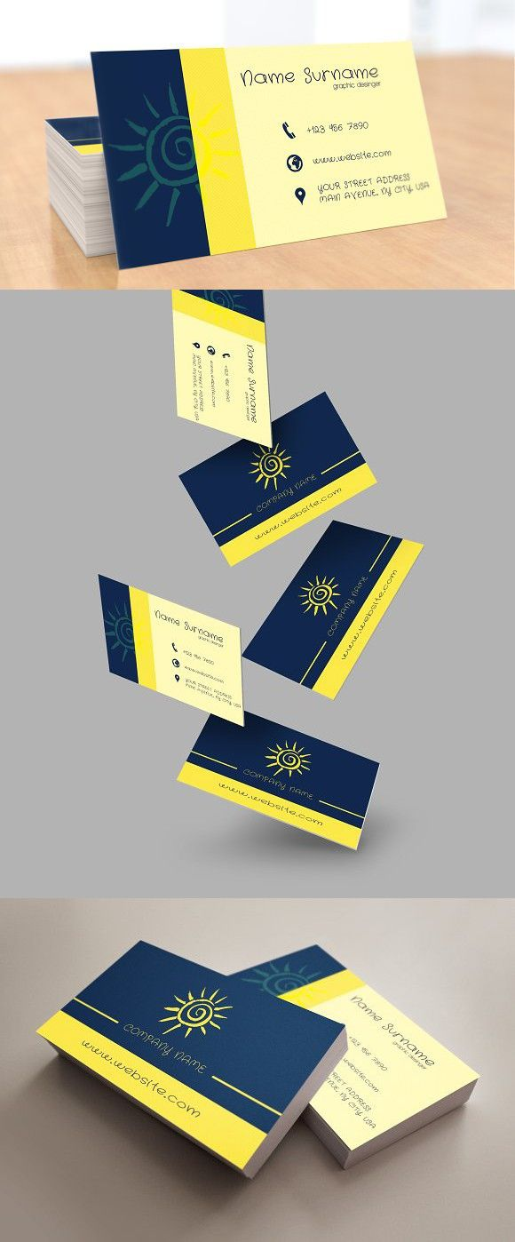 Sunny Multipurpose Card With Images Printable Business Cards