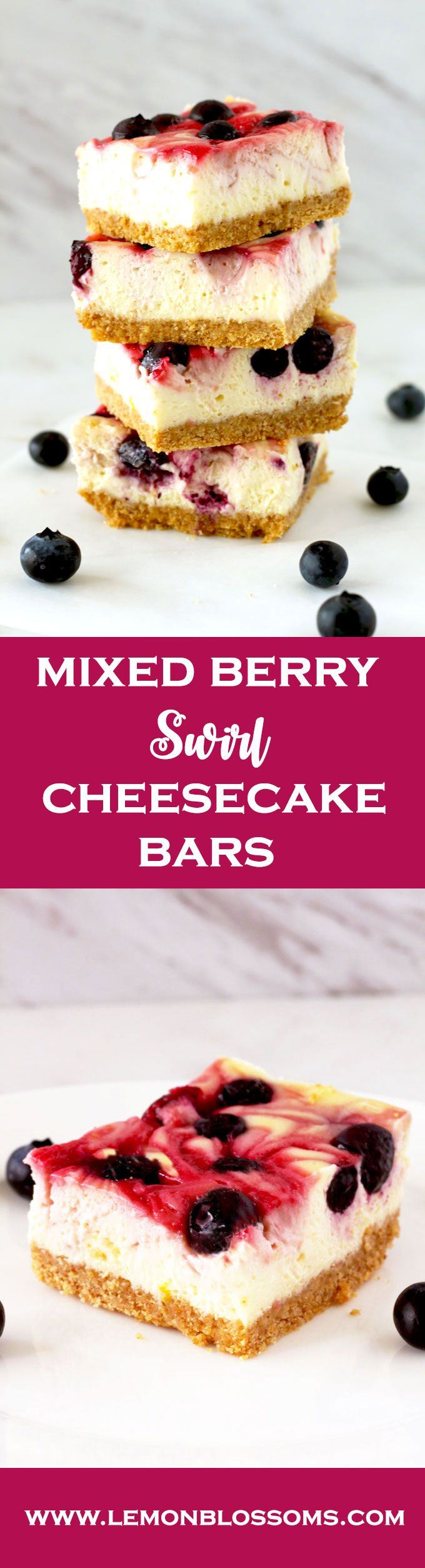 Creamy, smooth and delicious. These Mixed Berry Swirl Cheesecake Bars are studde…