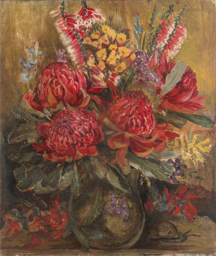 Waratah - Margaret preston, Oil on canvas 1944
