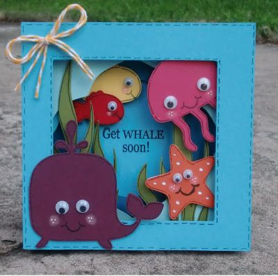 Bright and cheerful card! Several layers stacked full of fun sea animals!