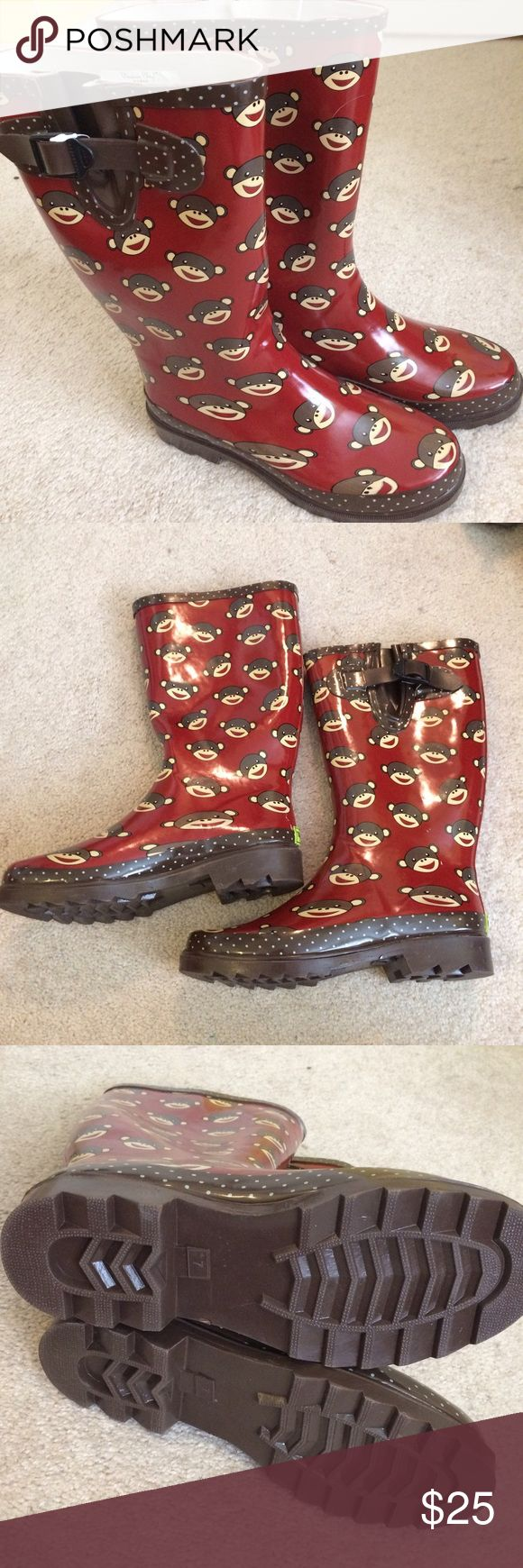 Western Chief Rain Boots Sock Monkey NWOT. Size 7 Adorable dark red Sock Monkey rain boots. Brand new, never worn. Thick, heavy duty boots. Good quality. Size 7. Western Chief Shoes Winter & Rain Boots