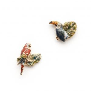 Tropical Toucan & Parrot Leaf Studs - Gold