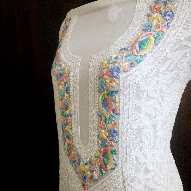 Pure Georgette Unstitched Kurta Fabric with Parsi Hand Embroidered Neckline ( Kurta and Dupatta)