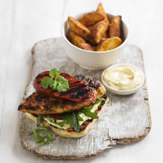 Chicken and chorizo open burger with garlic mayo. This is our favourite flavour combo - try it! #chicken #chickenburger #chorizo