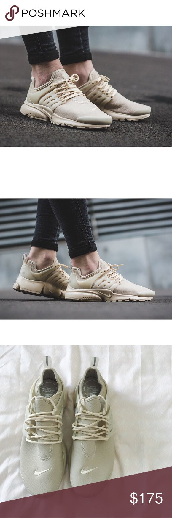 Nike Oatmeal Premium Leather Presto Sneakers •The Nike Air Presto Premium Women's Shoe reimagines the original in supple stretch leather for a premium look and feel wherever you go. Color is Oatmeal.   •Women's size 9. This style is only available in whole sizes and they will fit an 9 or 9.5.   •New in box (no lid).  •No trades. Nike Shoes Sneakers