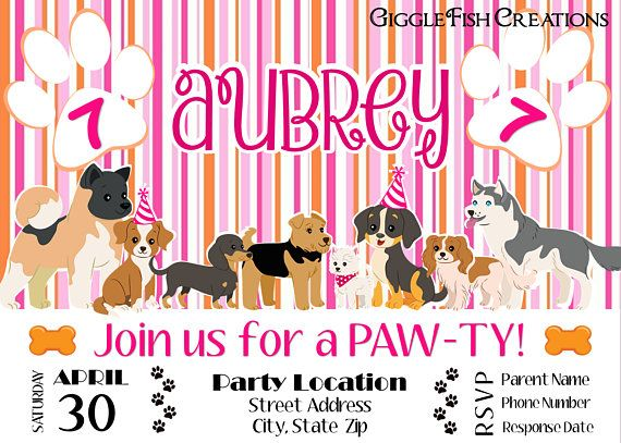 dog or puppy birthday party invitation for girls toddler birthday