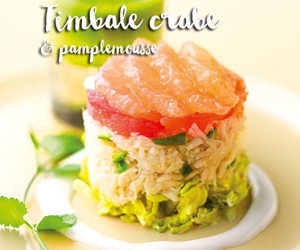 Timbale de crabe, pamplemousse, et coulis de concombre, on adore !