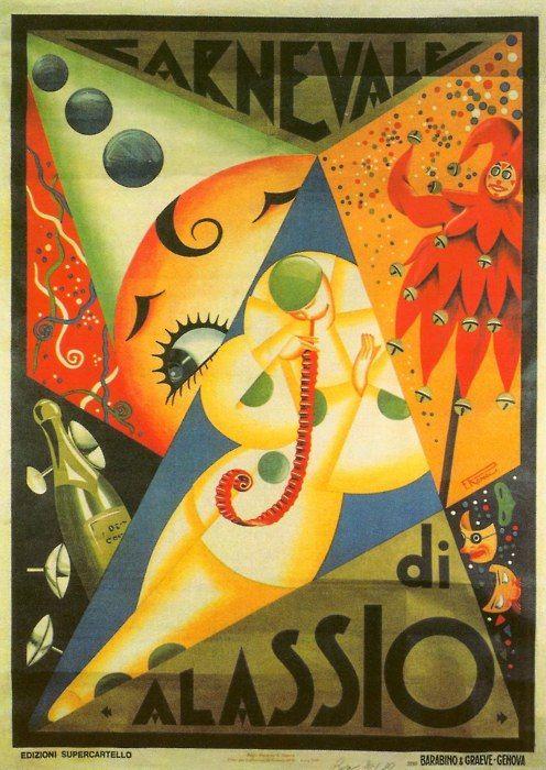 Vintage Italian Posters ~ #illustrator #Italian #posters ~ Filippo Romoli, Carneval di Alassio