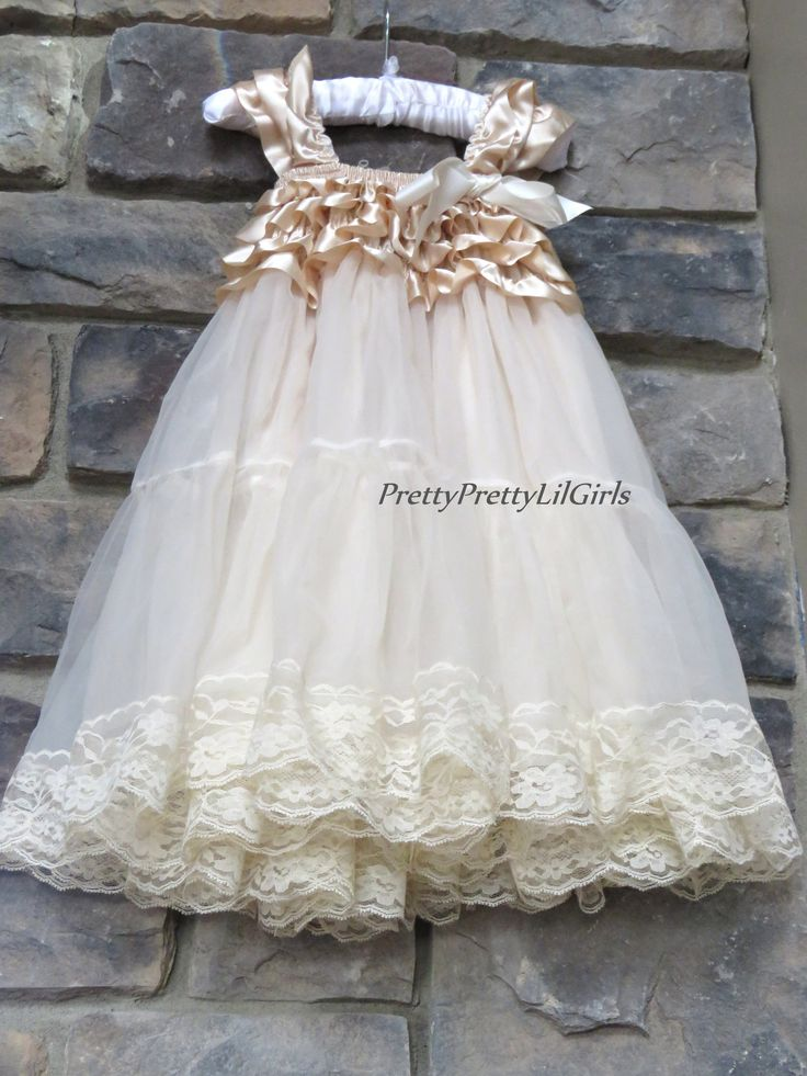 Tulle Girls Dress- Tulle Flower Girl- Girl Dresses- rustic Flower girl-Champagne Girls Tulle Lace Flower Girl Dress – Pretty Pretty Lil Girls