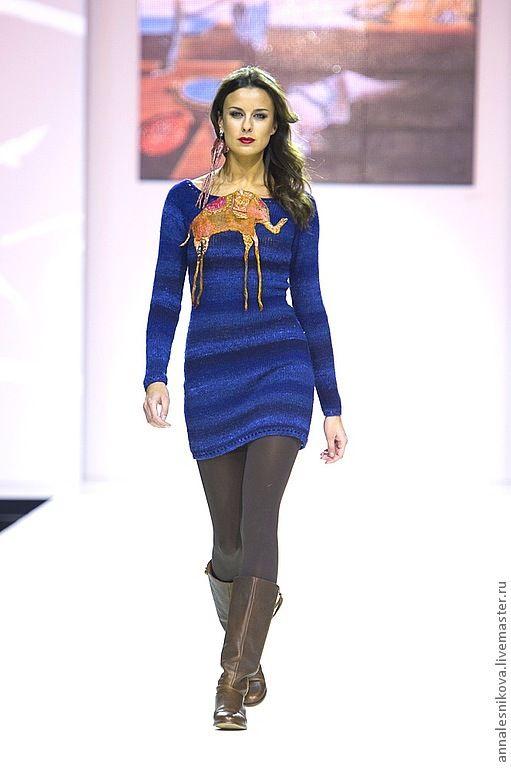 """Купить Платье """"Слоники Дали"""" - тёмно-синий, рисунок, платье, платье коктейльное, платье вязаное"""