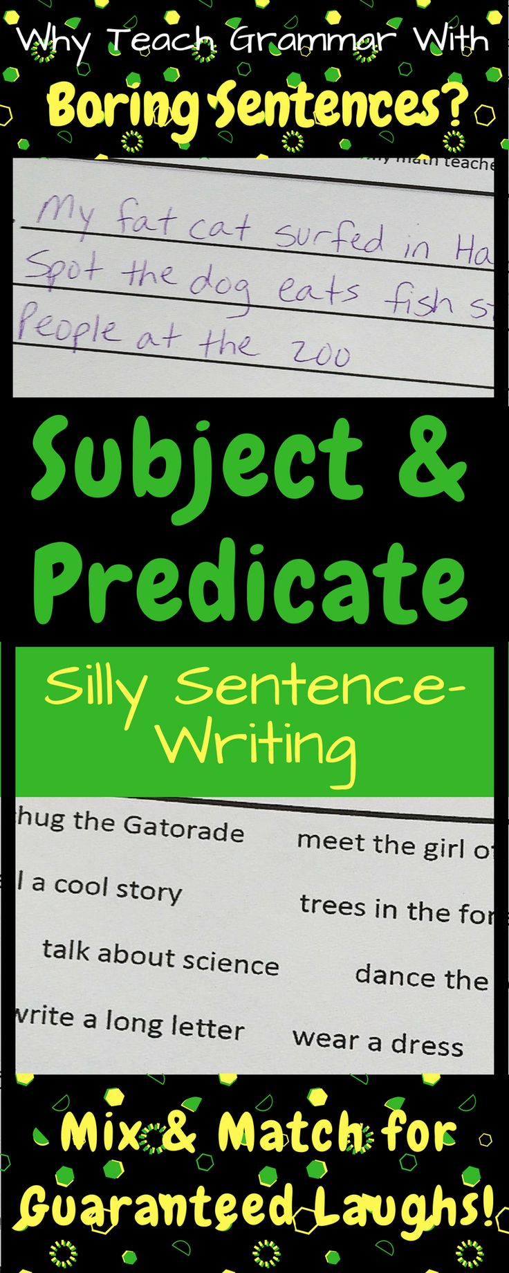 Teach subject and predicate with this fun sentence-writing activity! Grammar is hilarious when students write the examples! Plus, mixing and matching subjects and predicates reinforces students' understanding of complete sentences.