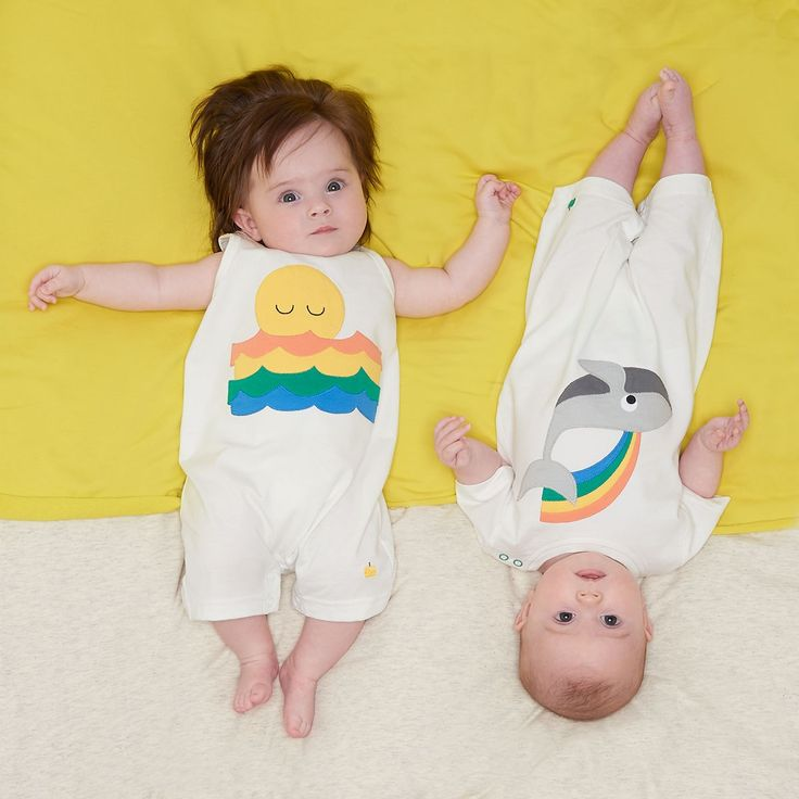 MOBY Organic Cotton Rainbow Whale Unisex Baby and Toddler Playsuit