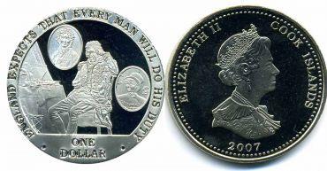 """Острова Кука 1 доллар 2007 """"Англия ждёт, что каждый человек выполнит то, что должен. Леди Гамильтон, Нельсон, Фрэнсис Нисбет"""