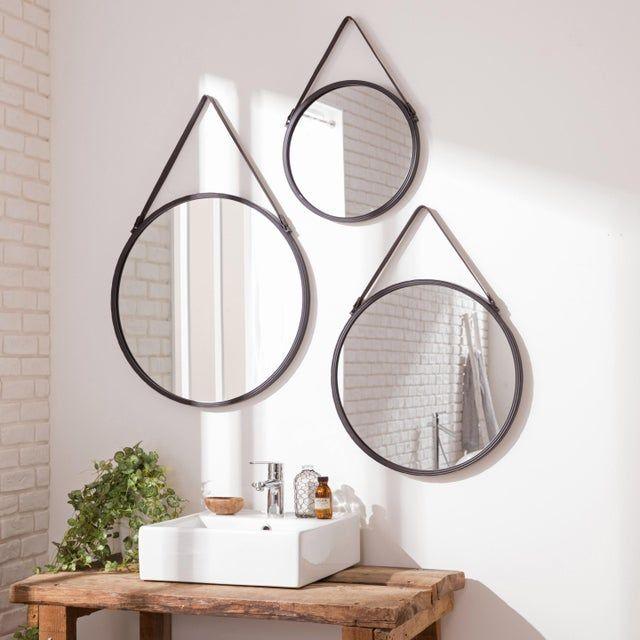 Miroir Rond Barbier Noir Diam 55 Cm Leroy Merlin En 2020 Miroir De Salle De Bain Decoration Maison Miroir Rond