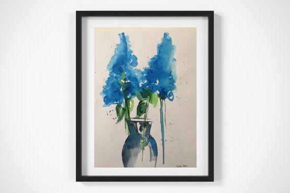 ORIGINAL AQUARELL Aquarellmalerei Bild Unikat blaue Blumen Flieder Malerei minimalistische Kunst – ca 9,5 Zoll x 12,6 Zoll ( 24 x 32 cm )