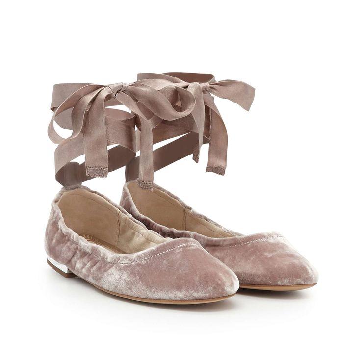 Fallon Lace-Up Flat Shoe by Sam Edelman - Mauve Velvet - View 1