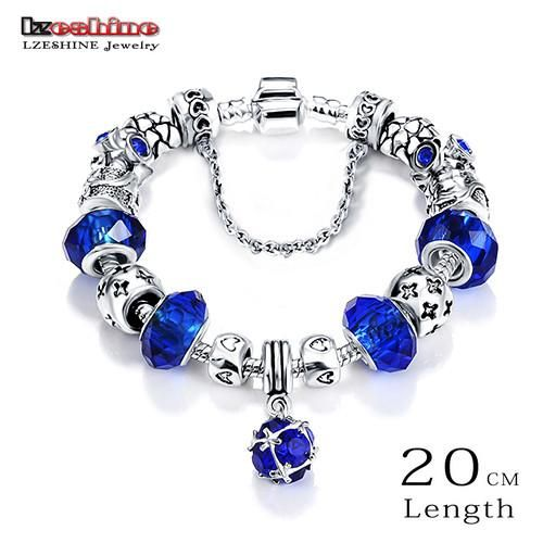 Bottom Price Promotion 2 Weeks LZESHINE Antique Silver Original Women Glass Charm Bracelet & Bangle Fit Charm Bracelet