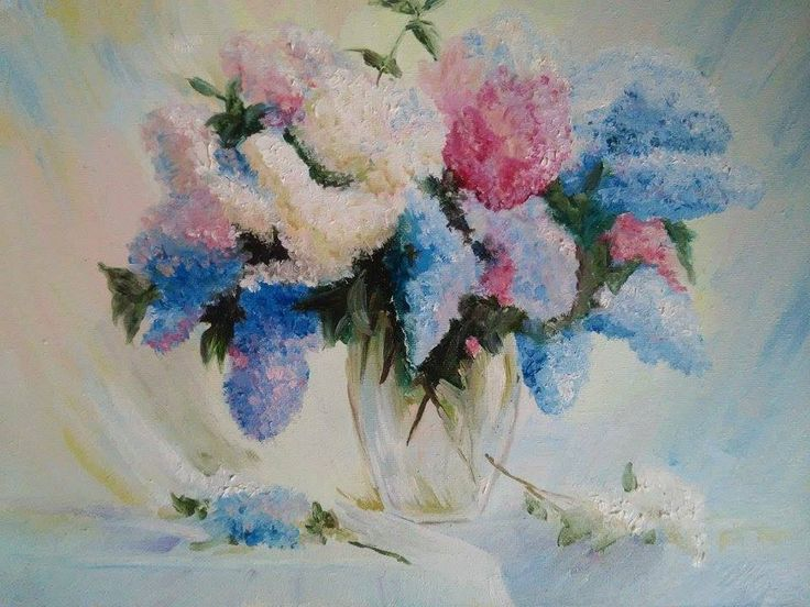 View and buy Bouquet of lilac in the vase oil painting by ClaireArtCafe on Etsy