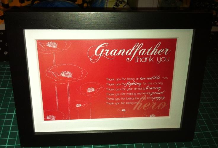 Grandfather - Anzac Day - thank you - Jessica Howson Design